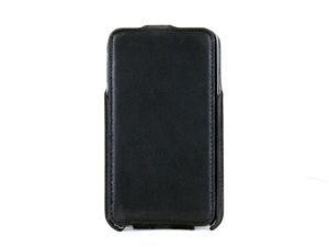 Black Premium Leather Flip Case and Two Screen Protectors for Samsung Galaxy Note, GT-i9220/N7000